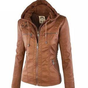 Ladies L/XL pleather bomber jacket